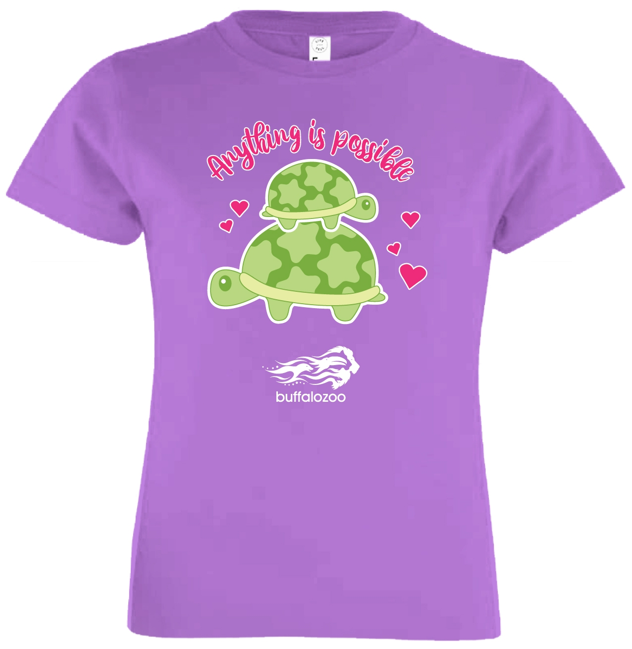 YOUTH SHORT SLEEVE TEE ANYTHING IS POSSIBLE TURTLE LAVENDER