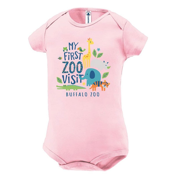INFANT ONESIE MY FIRST ZOO PINK