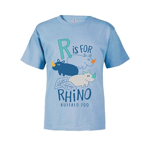 TODDLER SHORT SLEEVE TEE R IS FOR RHINO SKYBLUE
