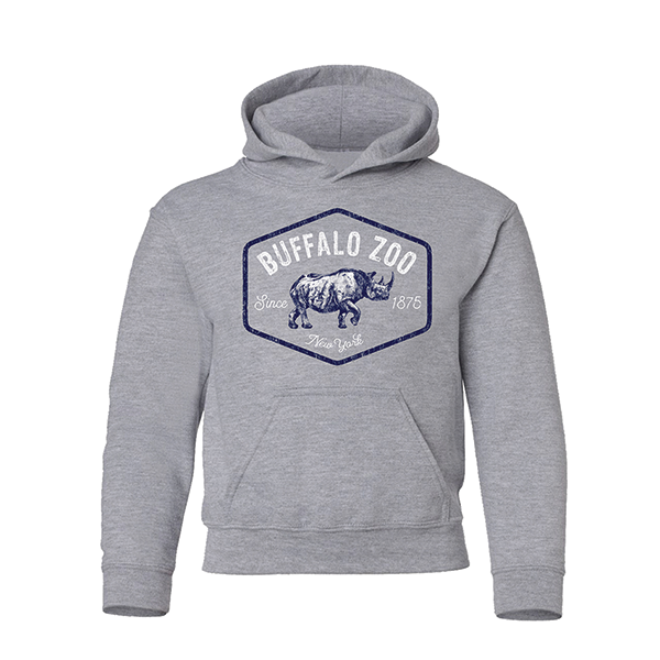 YOUTH BLACK RHINO HOODIE HEATHER GREY