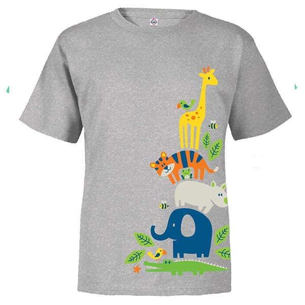 TODDLER SHORT SLEEVE TEE STACKING ANIMALS GREY