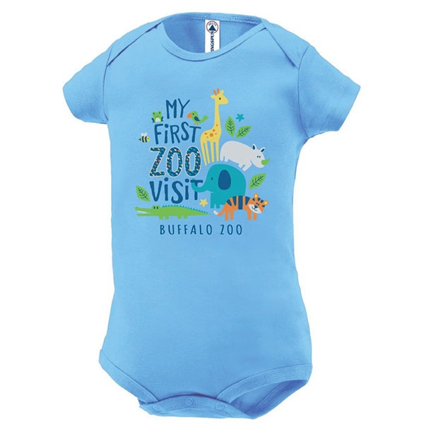 INFANT ONESIE MY FIRST ZOO BLUE