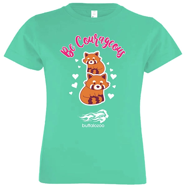 YOUTH SHORT SLEEVE TEE BE COURAGEOUS RED PANDA CARIBBEAN BLUE
